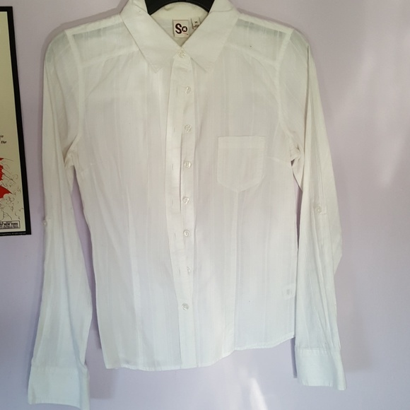 SO Tops - Basic white button up